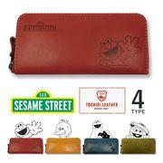 【全4タイプ】SESAME STREET セサミストリート 日本製 栃木レザー ラウンドファスナー 長財布