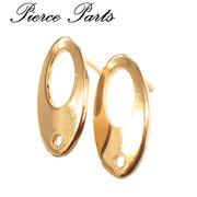ステンレス製デザインオーバルピアス【95】【10個/50個売り】◆ゴールド ステンレス SUS304 SUS316L