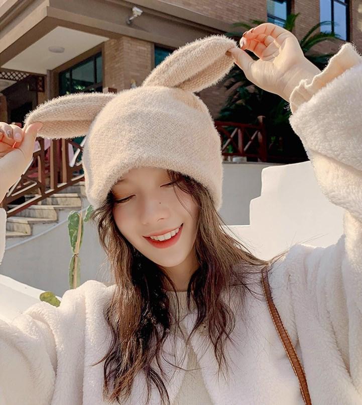 ニット帽子★全5カラー★韓国ファッション 裏起毛 耳付き帽子