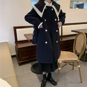大ラペル レギュラー ウールのコート 女 冬 韓国風 ウールコート ルース 着やせ 学生