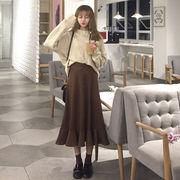 秋 新しいデザイン 韓国風 何でも似合う 中長スタイル 装飾 バックル 裾 着やせ 単一