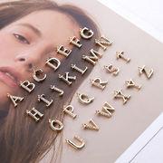 アルファベットパーツ デコパーツ 手芸素材 メタルパーツ 合金パーツ DIY素材 ピアスパーツ カン付き