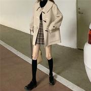 牛 角 バックル ウールのコート 女 キルト厚いです ウールコート 学生 冬 新しいデザ
