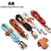 iPhone pu レザー 充電ケーブル コード アイフォン Lightning USB micro-usb 転送 ケーブル 合皮 1.0m