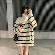 秋冬 韓国ファッション ニット ケーブル編み  レディーズ ロングニットセーター