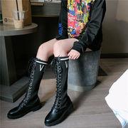 ブーツ 女ブーツ 秋と冬 新しいデザイン 厚底 何でも似合う ニッティング ブーツ下 ブ