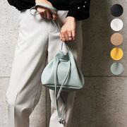 巾着レザーショルダーバッグ BAG カバン 小型 巾着バッグ シンプル 新作