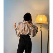 いまだけの超SALE価格/韓国ファッション トップス 上品映え 新品 個性 百掛け サテン ブラウス