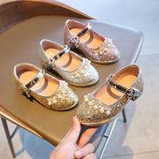 女児 革靴 ハイヒール 少女 琴 表 クリスタル 靴 セレモニー 服 モデル 走る 美し