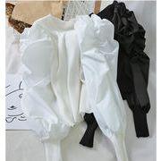 新しいデザイン  縫付 トップス 短いスタイル スリムフィット シャツ  ランタンスリーブ ラウンドネック