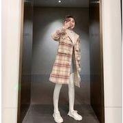 YUNOHAMIコートアウター 韓国ファッション チェック柄 中長スタイル ウールコート 帽子付き 秋冬