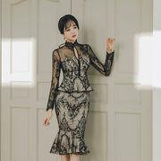 花柄レースドレス ひざ丈ワンピース フレア裾