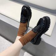 靴 女靴 春 新しいデザイン 何でも似合う 厚底 小さな靴 女性英国スタイル ローファー