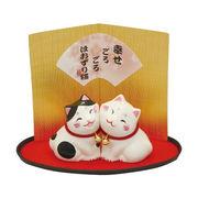 ほおずり猫ペア/白・黒ブチ猫セット