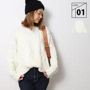 ニット セーター ケーブル編み レディース 秋 冬 ホワイト フリー