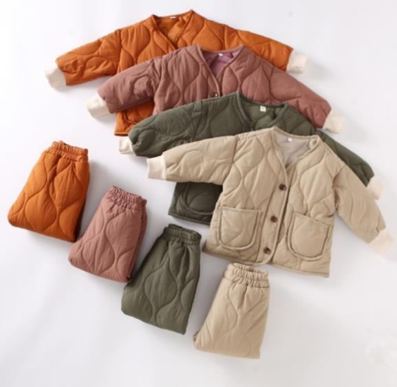 子供服 厚手 セットアップ コート+パンツ 女の子 男の子 キッズ服 2点セット カジュアル系