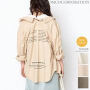 【SALE!】COTTON LINEN/後ろドット釦 バックプリントオーバーサイズシャツ【売れ筋追加♪】