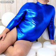 1266F■J●送料無料● 長袖ハイネックレオタード(後ファスナー) 色:青 サイズ:JUMBO