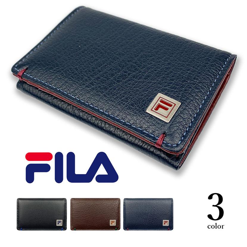 全3色 FILA(フィラ)リアルレザー バイカラー 名刺入れ カードケース 牛革