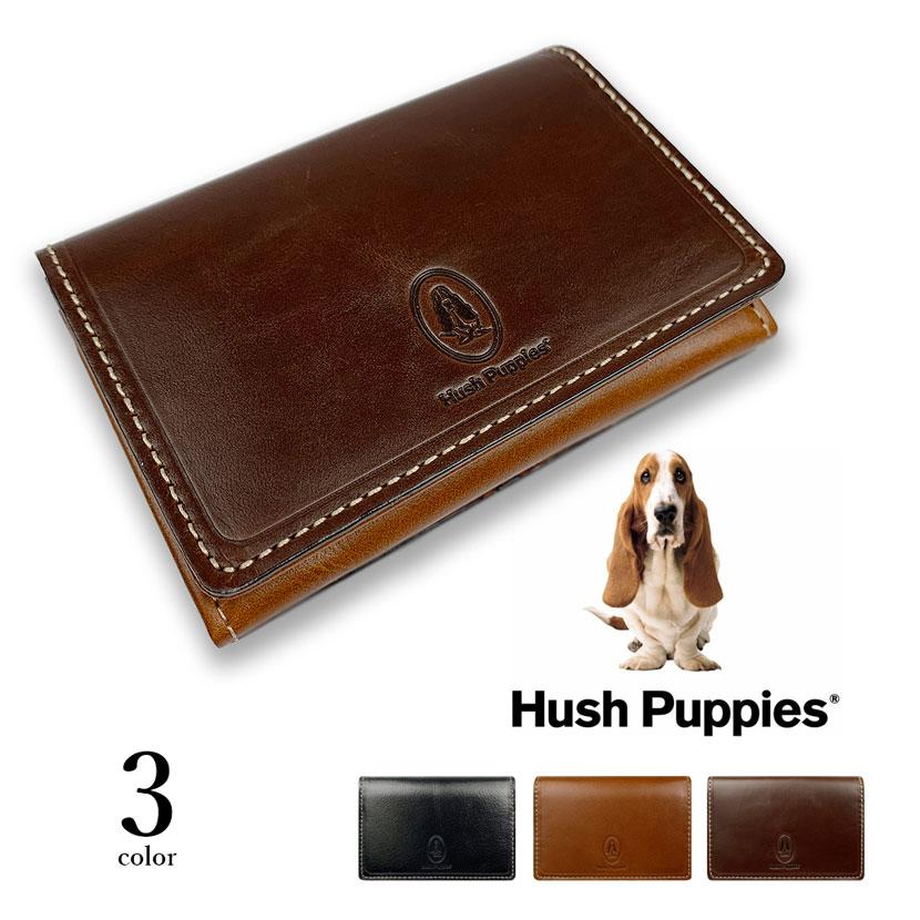 全3色 Hush Puppies ハッシュパピー リアルレザー バイカラー 名刺入れ カードケース パスケース