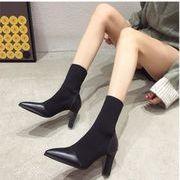 レディースファッション 秋冬女性ハイヒール 韓国スタイルゴム底ニットpu短い靴ブツシンプルブラック靴