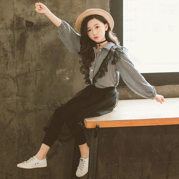 2020女の子 長袖 春秋 秋着 上下セット 韓国子供服 キッズ ジュニア シャツ チェッ可愛い おしゃれ