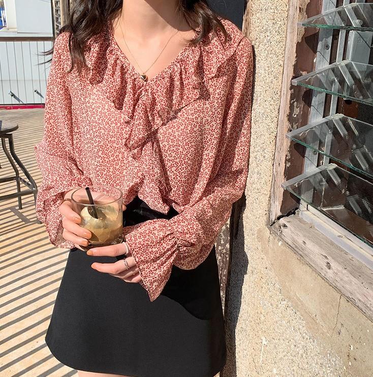 2020年 新しい韓国スタイル 甘い気質 ゆるくて薄い 女性のシャツ シフォン長袖シャツ