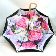 【雨傘】【長傘】UV加工付軽量ポンジー生地二重張裏プリントジャンプ傘
