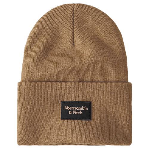 正規品 アバクロ ニット帽子 Abercrombie&Fitch Logo Patch Beanie (ブラウン)
