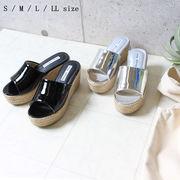 エナメルジュートサンダル ウェッジソール ヒール 靴 シューズ オープントゥ エナメルサンダル 2020新作