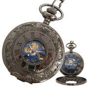 ポケットウォッチ 懐中時計 手巻き スケルトン 蓋付き シースルー  PWA007 メンズ懐中時計