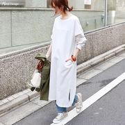 【S-2】コットン フットボールTシャツ 長袖 ワンピース