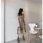 初春も使える 韓国 エレガント 早春 ベルト付き ロングセクション ニットワンピース ロングスカート