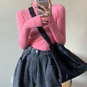 春 新しいデザイン 韓国風 単一色 ハイネック 長袖Tシャツ 女性服 薄いスタイル マイ