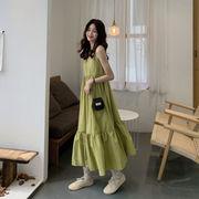 ルース フリル ネット レッド ストラップドレス 春夏 新しいデザイン 韓国風 中長スタ