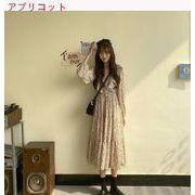 春服 新しいデザイン 韓国風 シフォン 長袖 花のドレス 女 ウルトラ 仙 気質 ウエス