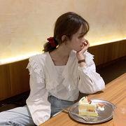 白 ネイビー ラペル レース 長袖シャツ 女性服 春 新しいデザイン 韓国風 ルース 何