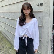 ワイシャツ 女 デザイン 感 小 春服 年 新しいデザイン 韓国風 何でも似合う パフ