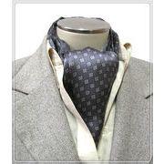 エレガントな袋縫いプリント柄入りメンズ用100%シルクスカーフ 10142