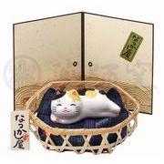★可愛い猫物語★ 和みの猫グッズ「なつかし屋」【猫町ねこ(まったり・竹籠付)】