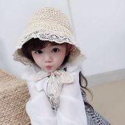 帽子 子供用 つば広 日よけ 麦わら帽子 可愛い 女の子 娘とお揃い ハット 旅行