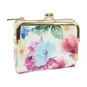 【予約販売】(4月下旬納品)水彩花柄 二つ折り財布 がま口ミニ財布 [ブルーム] / レディース 小銭入れ