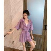 【大きいサイズM-4XL】ファッションツナギ♪パープル/イエロー2色展開◆