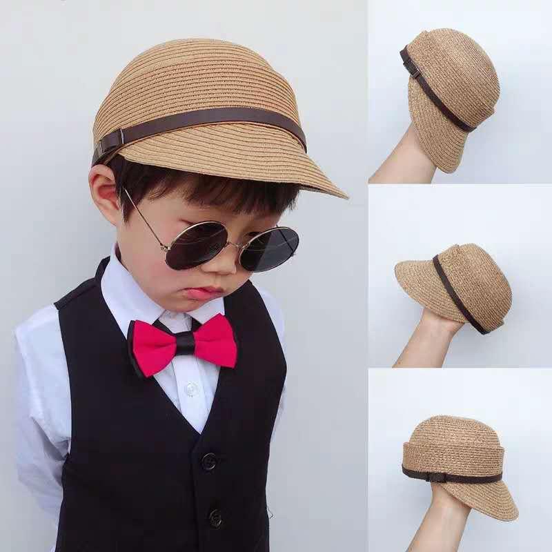 韓国風帽子★子供帽子 hat夏キッズハット★2〜5歳 麦わら帽子日焼け止め帽子 草編み 3色