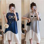 【大きいサイズL-4XL】ファッション/人気ワンピース♪ブルー/グレー2色展開◆