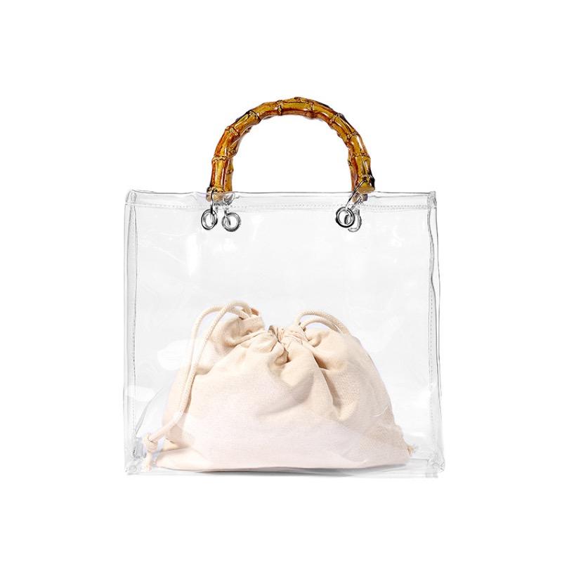 バッグ ハンドバッグ 小ぶりバッグ ミニバッグ 透明 PVC ビーチ 海水浴