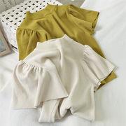 女性なら誰もが憧れる!ランタンスリーブ オシャレ セーター パフスリーブ 半袖 トップス セミハイカラー