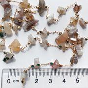【韓国発 予約商品】天然石チェーン ピラミッド カラー/1m販売/メタル/チェーンパーツ/ネックレス
