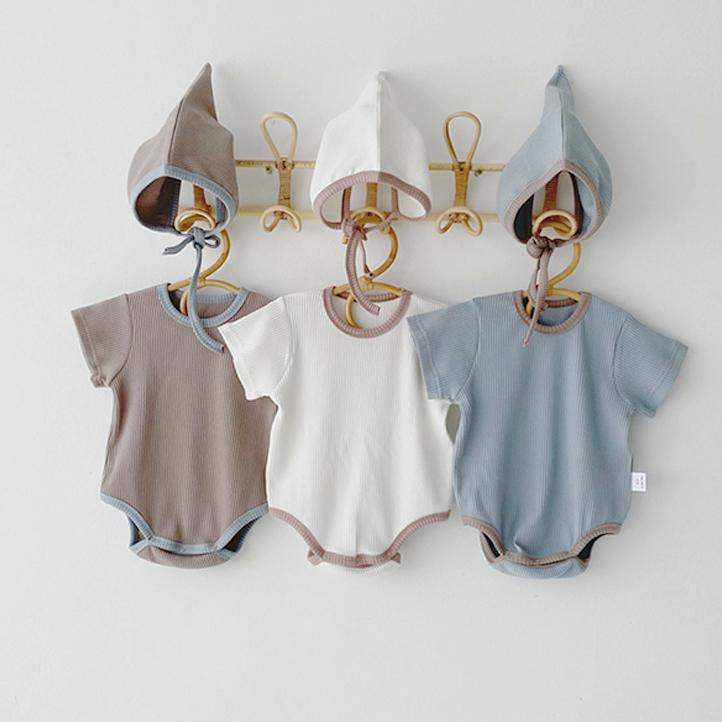 ロンパース キッズ 子供服 ワンピース 帽子付き 2点セット 男女兼用 夏