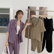 ≪大満足のレビュー多数≫ 気質 スーツ ジャケット 巾着 九分丈パンツ カジュアルパンツ 2点セット